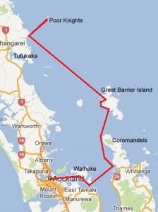Våran seglade rutt från Auckland till Tutukaka via Waiheke, Coromandels och Great Barrier Island.
